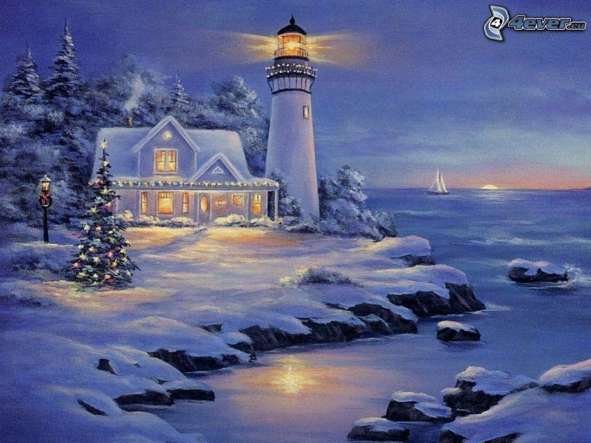 gemalter Leuchtturm, schneebedecktes Haus, verschneite Bäume, Küste, Meer, Thomas Kinkade