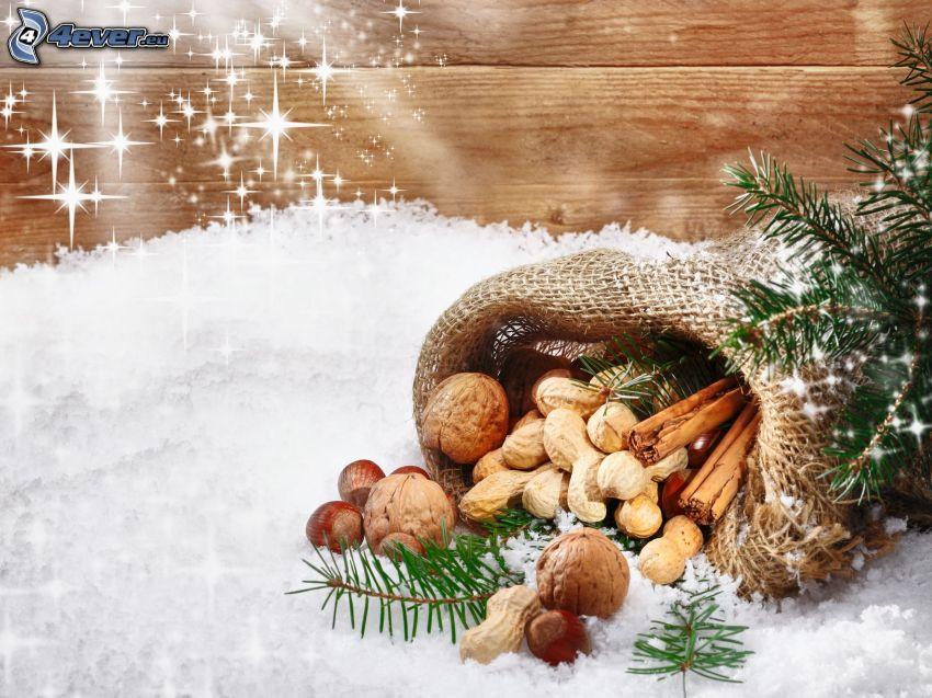 Nüsse, Schnee, Nadelästchen