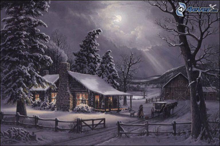 schneebedeckte Hütte, Nadelbäume, Pferdegespann, alter verschneiter Zaun, Cartoon, Thomas Kinkade
