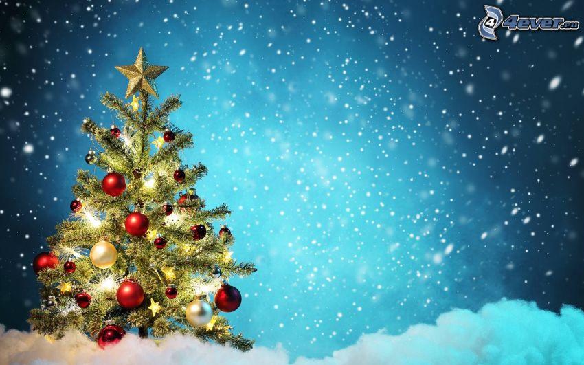 Weihnachtsbaum, Schnee, Weihnachtskugeln