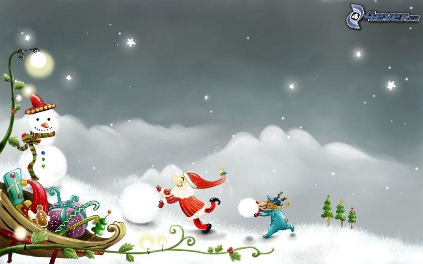 Weihnachtshintergrund, Schneemann, Geschenke, Schnee