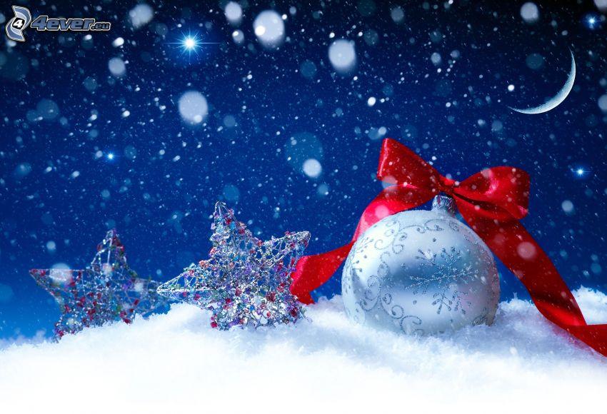 Weihnachtskugel, Haarschleife, Schnee