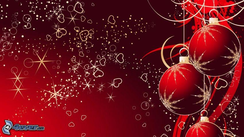 Weihnachtskugeln, Herzen, Ringe, roter Hintergrund