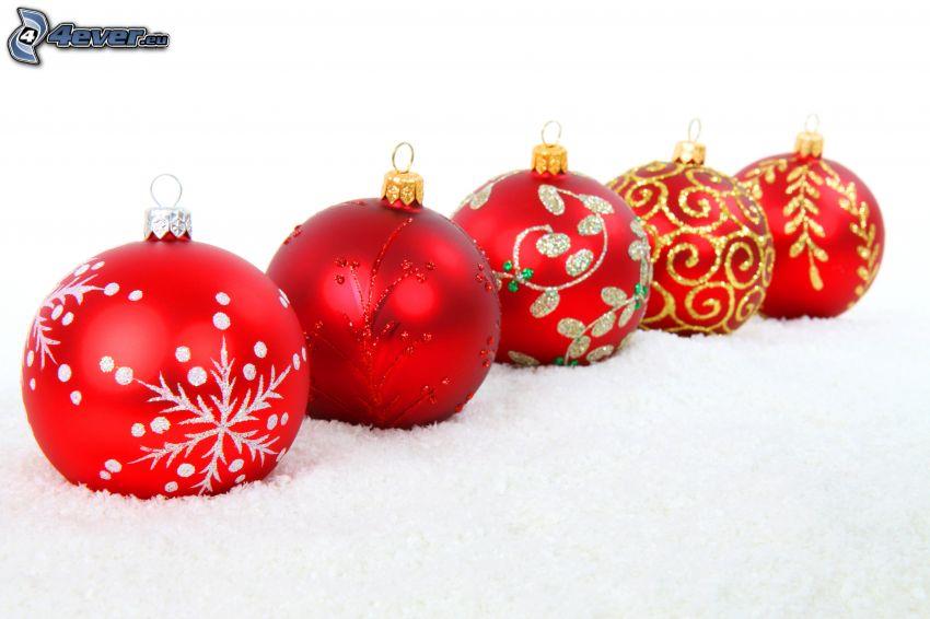 Weihnachtskugeln, Schnee