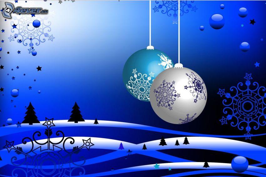 Weihnachtskugeln, Schneeflocken, Bäume, blauer Hintergrund