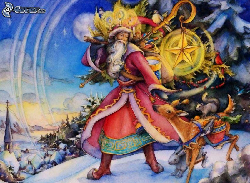 Weihnachtsmann, Reh, schneebedecktes Dorf