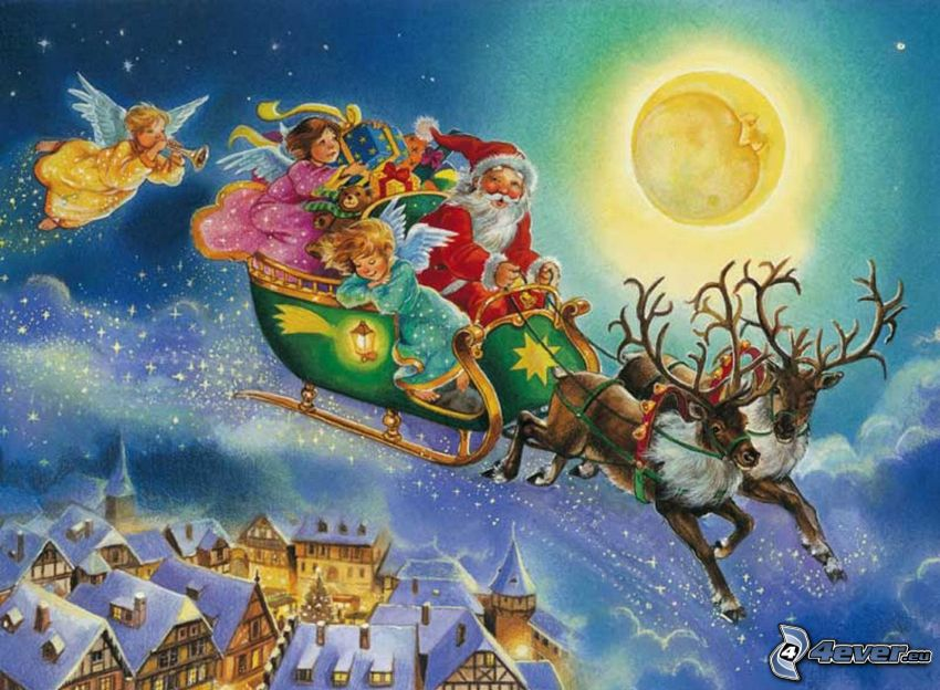 Weihnachtsmann, Schlitten, Rentiere, Mond, Schnee, Häuser