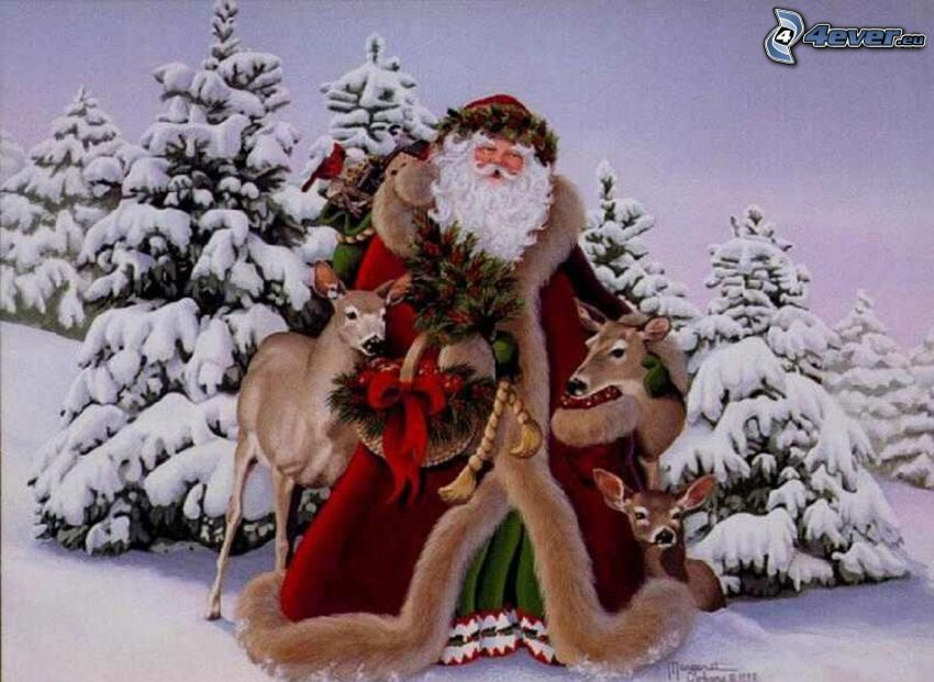 Weihnachtsmann, verschneite Bäume, Rehe