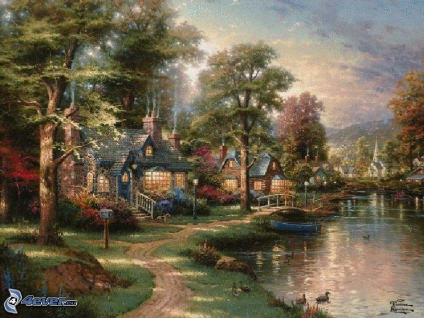 cartoon Dorf, Bach, Häuser, gemalte Bäume, Gehweg