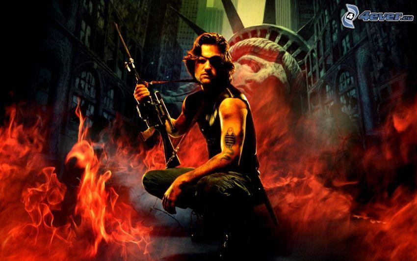 Escape from New York, Mann mit einem Gewehr, Feuer
