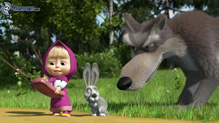 Mascha und der Bär, gezeichnetes Kaninchen, gezeichneter Wolf