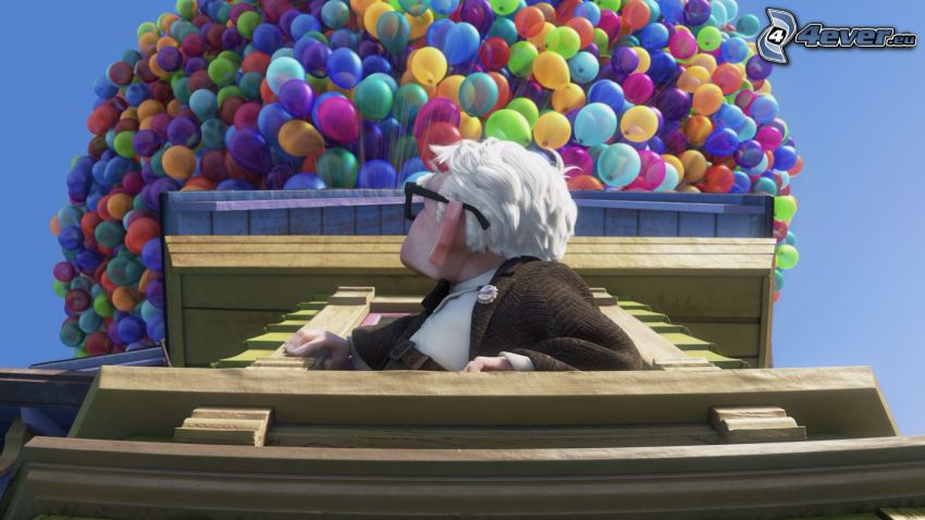 Oben, Großvater, Luftballons