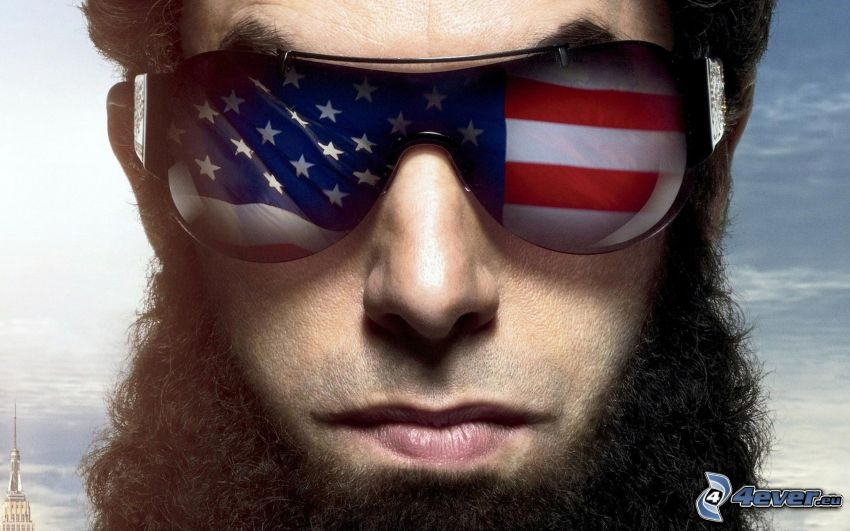 The Dictator, Mann, Sonnenbrille, amerikanische Flagge