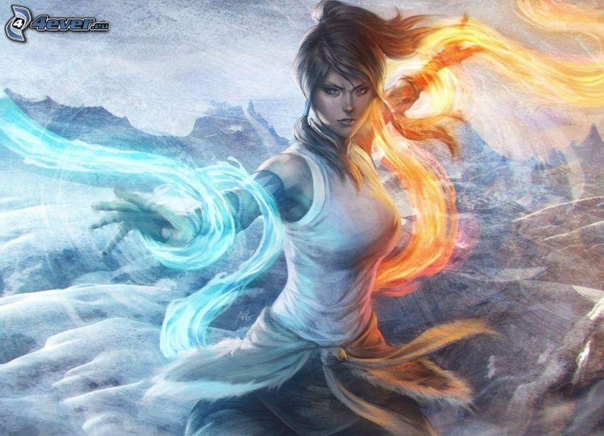 The Legend of Korra, gezeichnete Frau, Feuer und Wasser