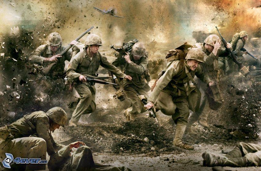 The Pacific, Soldaten, Krieg