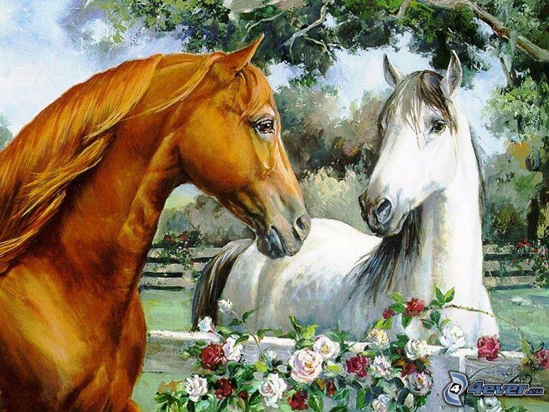 karikature Pferde, Blumen, Bäume, Bild