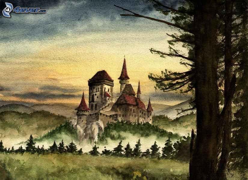 Karlštejn, Burg, Zeichnung