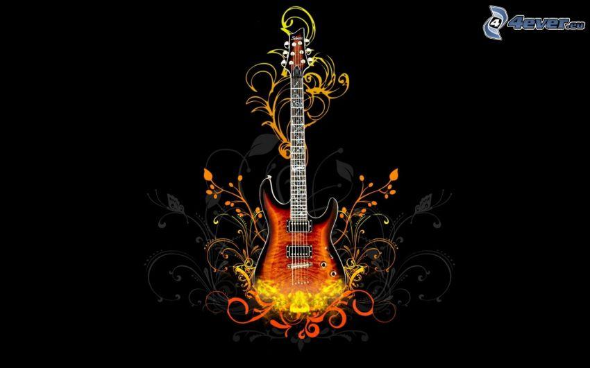 cartoon Gitarre, Blumen
