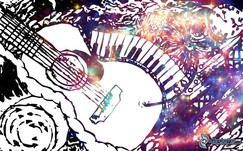 Gitarre, Tasten