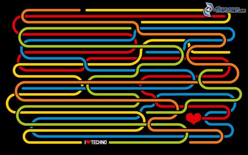 I Love Techno, farbige Linien