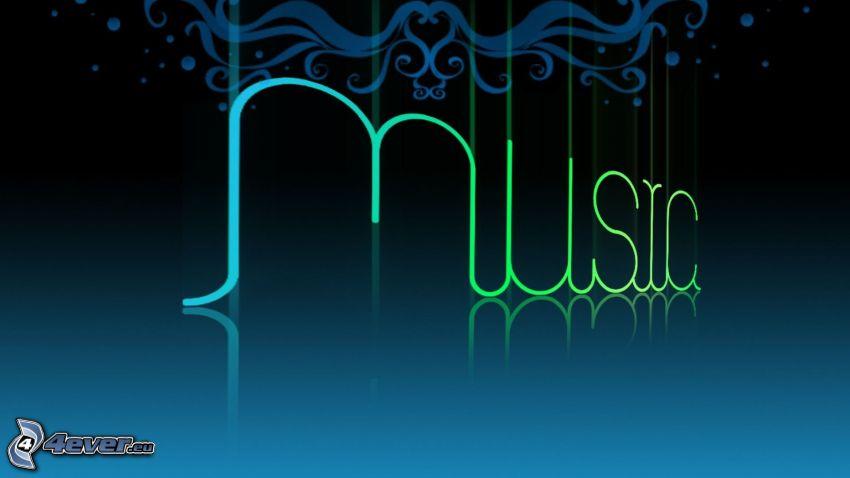music, blauer Hintergrund