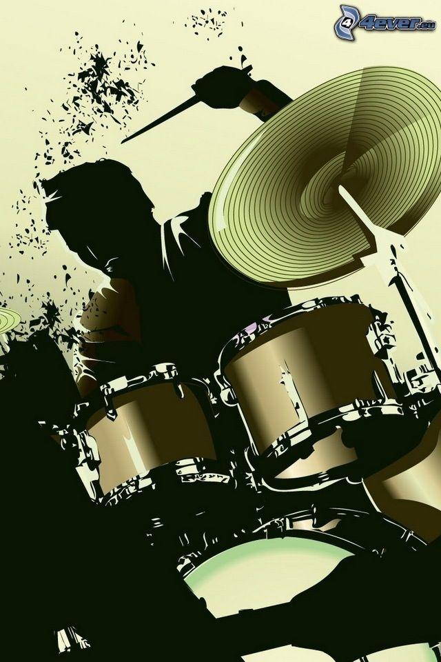 Spiel auf Schlagzeug, Cartoon