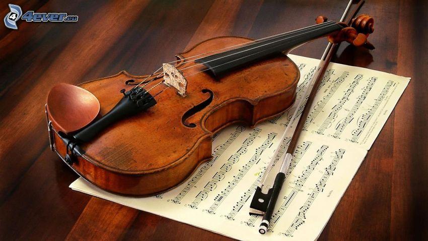 Violine, Noten, Bogen