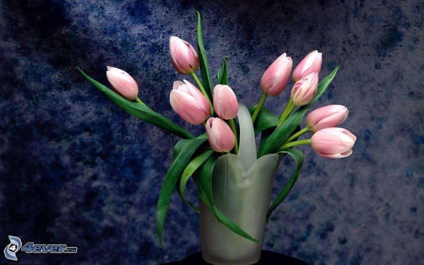 rosa Tulpen, Blumen, Vase, Stillleben, Kunst