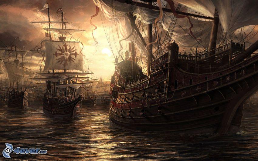 Schiffen, Segelboote