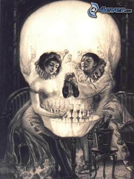 The Pierrot's love, Schädel, Menschen, Bild