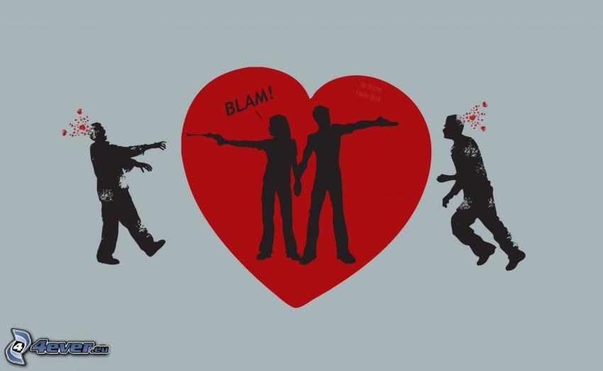 Herz, gezeichnetes Paar