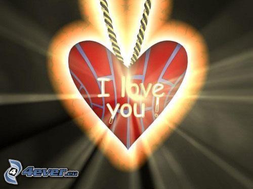 Anhänger mit Herz, I love you