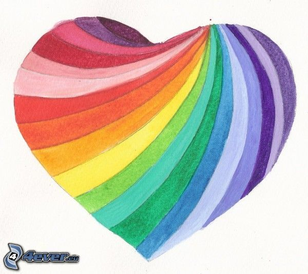 Cartoon Herz, Regenbogenfarben