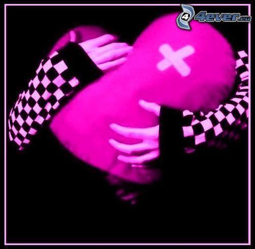 emo Herz, mädchenhafte Hände