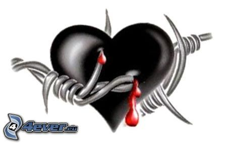 Herz erstochen, Blut, Stacheldraht