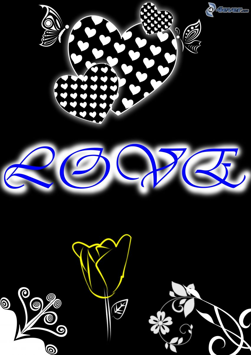 love, Herzen, Blume, Zeichnung