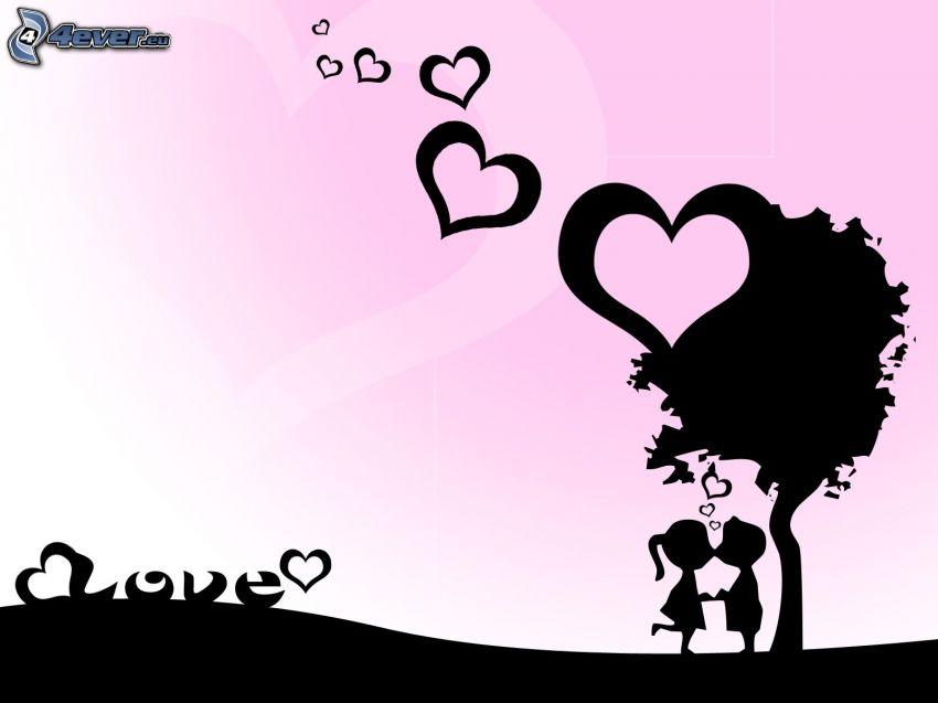 Paar unter dem Baum, gezeichnetes Paar, Silhouette des Paares, Herzen, love, Liebe