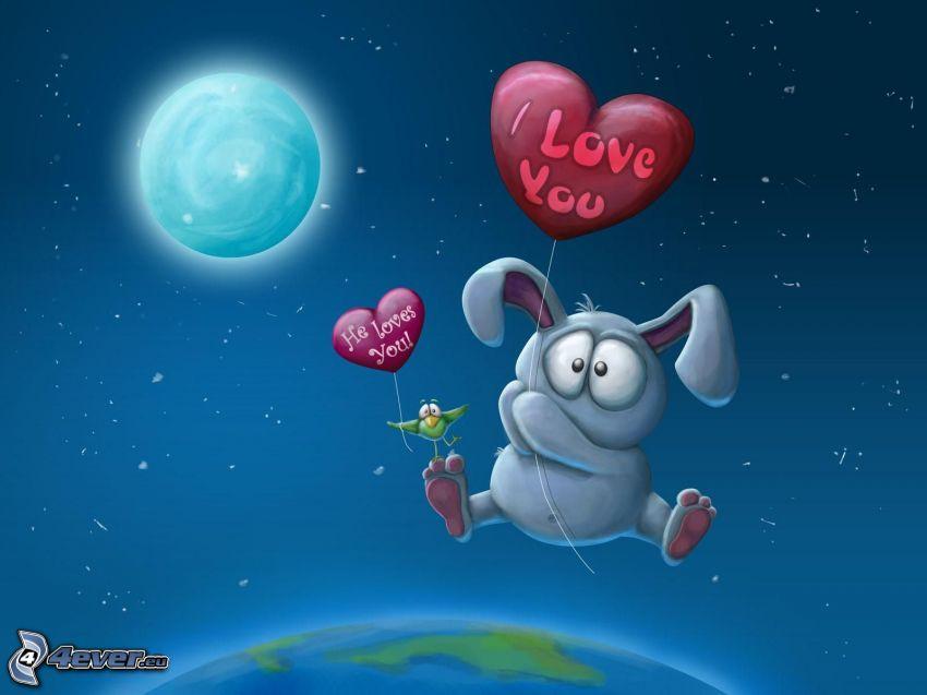 Ich liebe dich, I love you, gezeichnetes Kaninchen, Mond