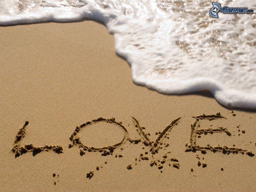 love, Strand, Sand