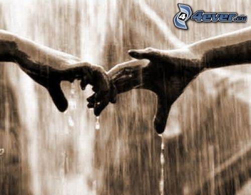 Berührung, Hände, Regen