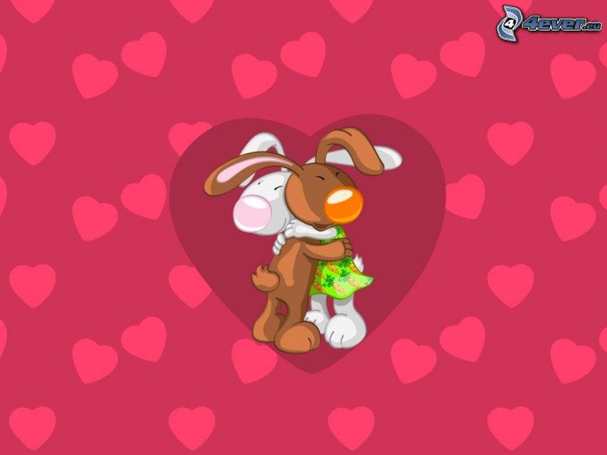 cartoon-Hasen, Umarmung, gezeichnetes Paar, Herz, Herzen, Liebe