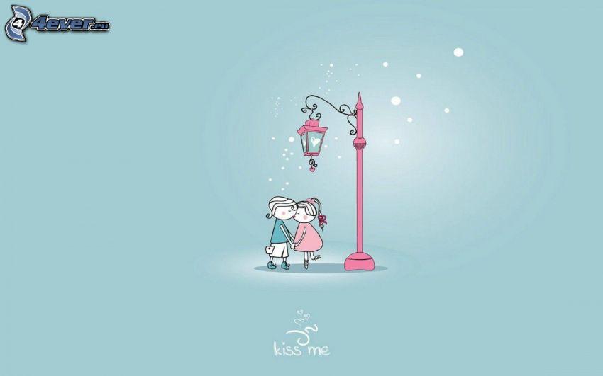 gezeichnetes Paar, Straßenlaterne, Kiss me!