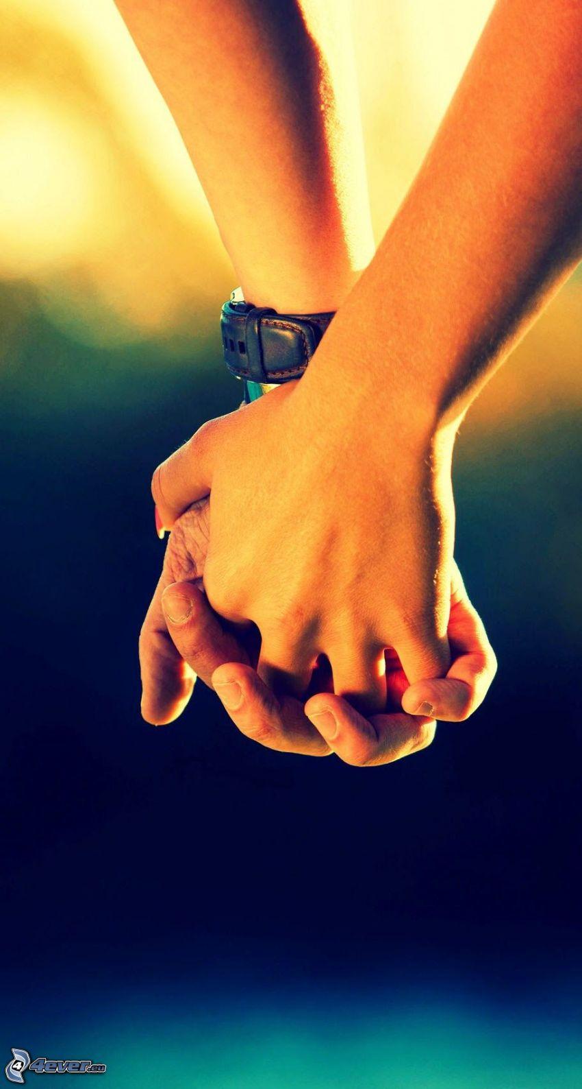 halten sich die Hände, Armbanduhr