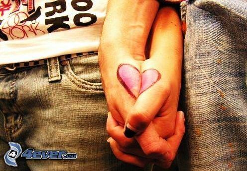 halten sich die Hände, Herz, Liebe