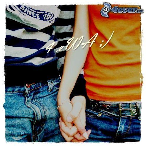 halten sich die Hände, Paar, Liebe, für immer zusammen