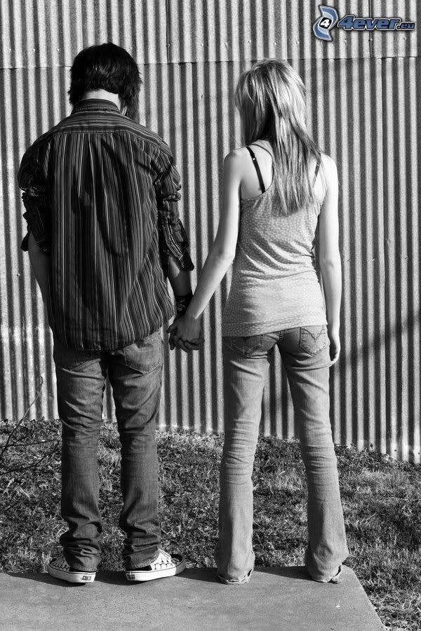 halten sich die Hände, Paar, Liebe