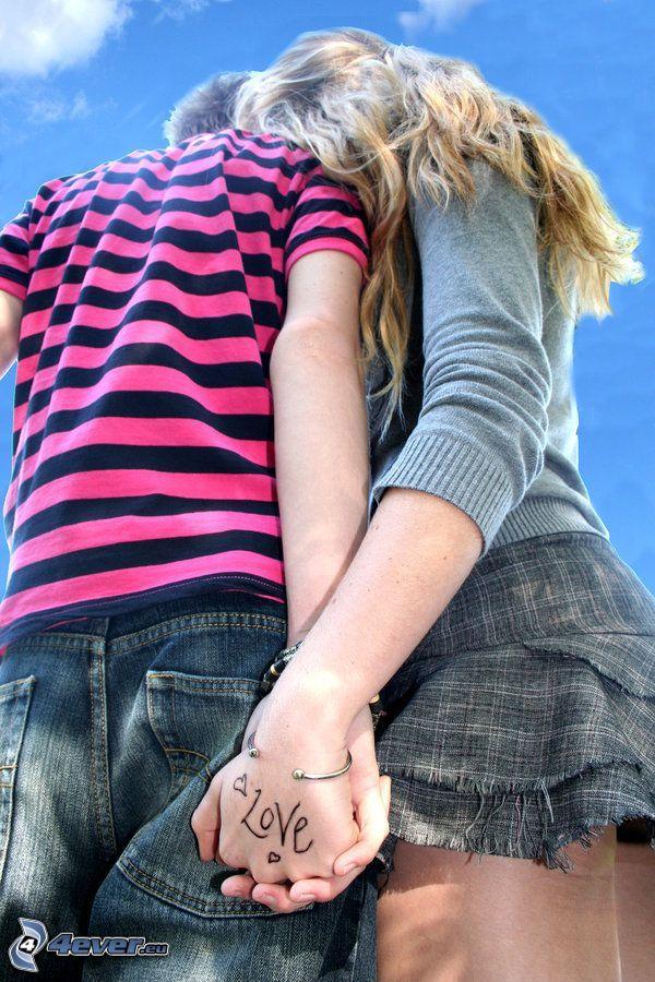 halten sich die Hände, Paar, love, Minirock