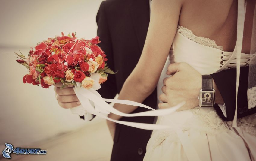 Hochzeitspaar, Hochzeitsstrauß