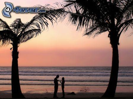 Paar am Meer, Himmel, Meer, Palmen am Strand