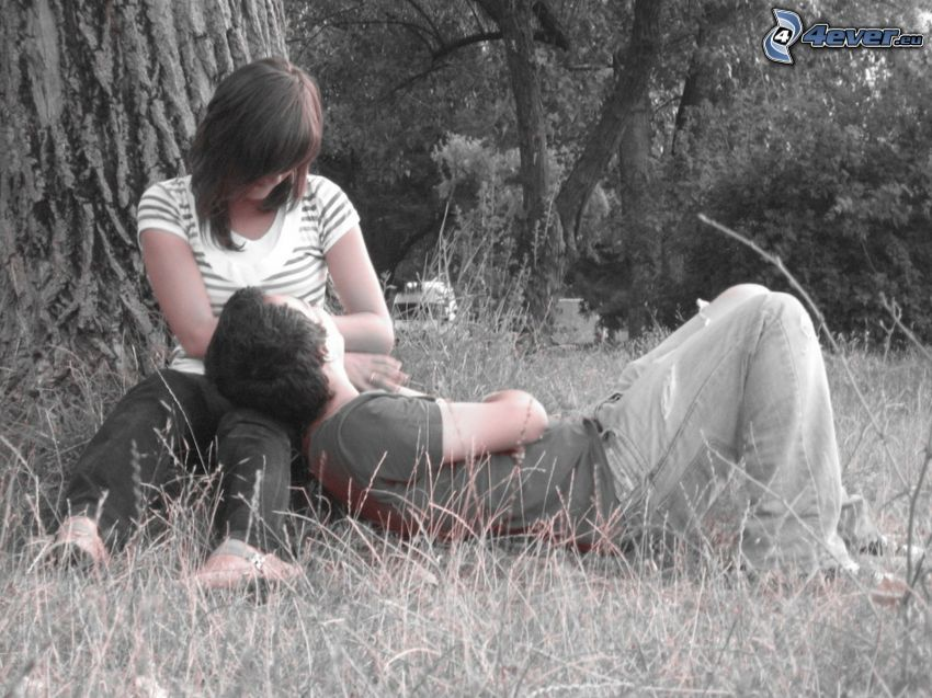 Paar auf der Wiese